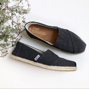 TOMS Black Washed Canvas Women's Espadrilles SZ 6